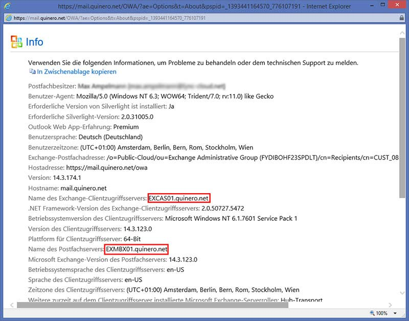 Outlook Web App - Exchange Server Informationen