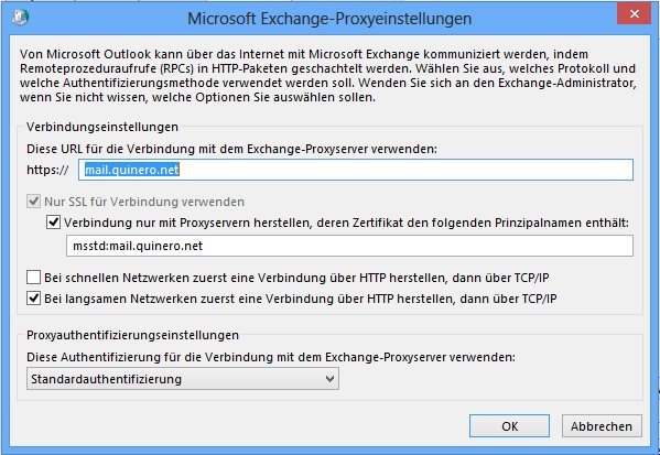 Outlook 2010 - Proxyeinstellungen