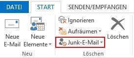 Outlook 2013 DE Junk-E-Mail-Button