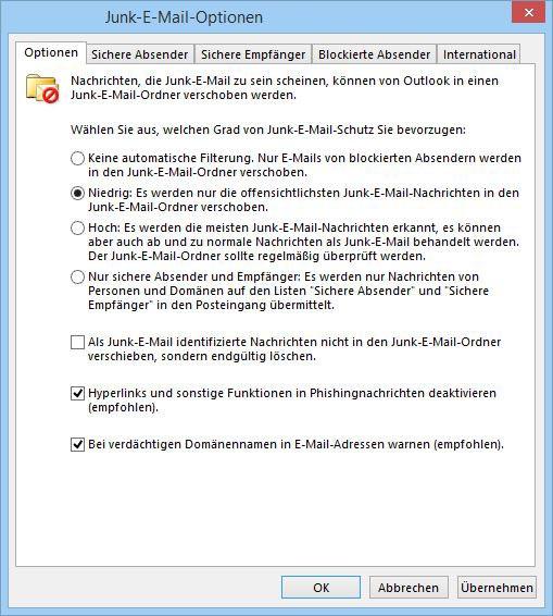 Outlook 2013 DE Junk-E-Mail-Optionen