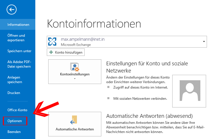 Outlook 2013 E-Mail encryption - Datei - Optionen