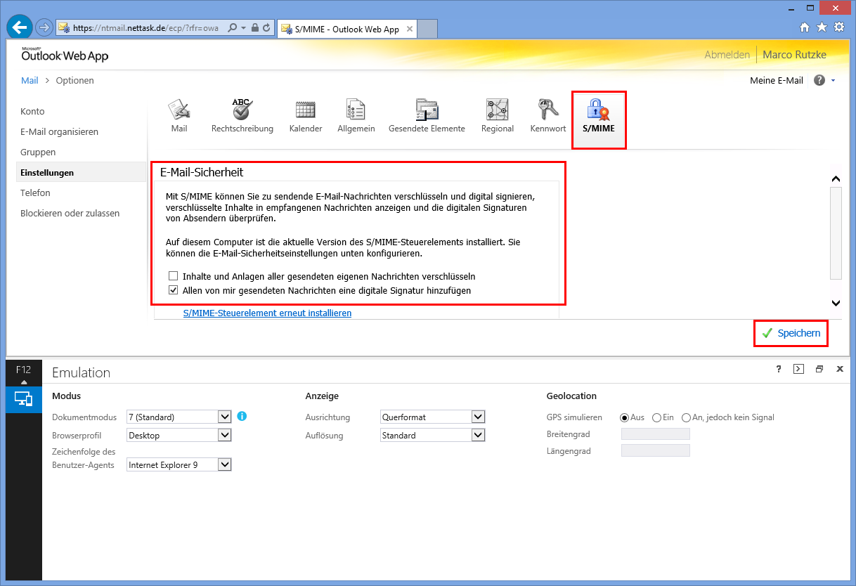 Does outlook support smime download owa