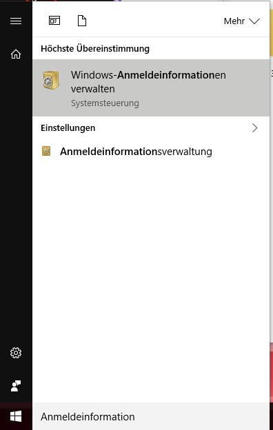 Windows 8 8.1 10 Anmeldeinformation aufrufen