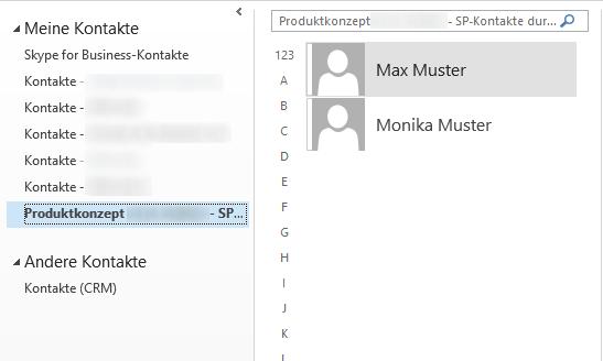 Computergenerierter Alternativtext:Max Muster Monika Muster Meine Kontakte S9pe for Business-Kontakte Kontakte - Kontakte - Kontakte - Andere Kontakte sp