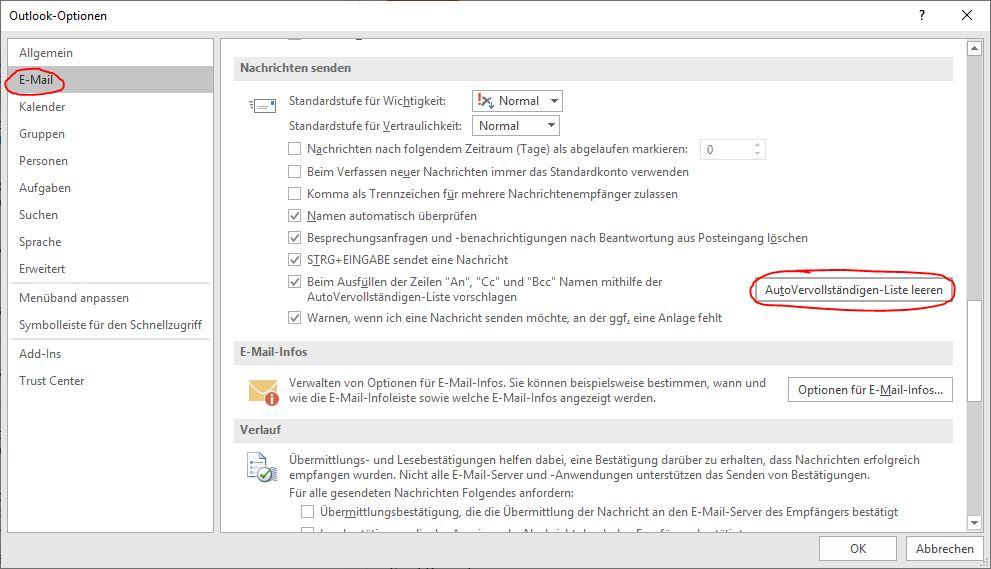 Outlook AutoVervollständigen-Liste leeren